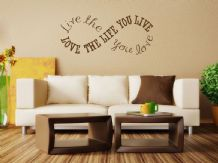 """Love The Life You Live..."" Infinity Circle Wall Quote, Wall Sticker,  Transfer"